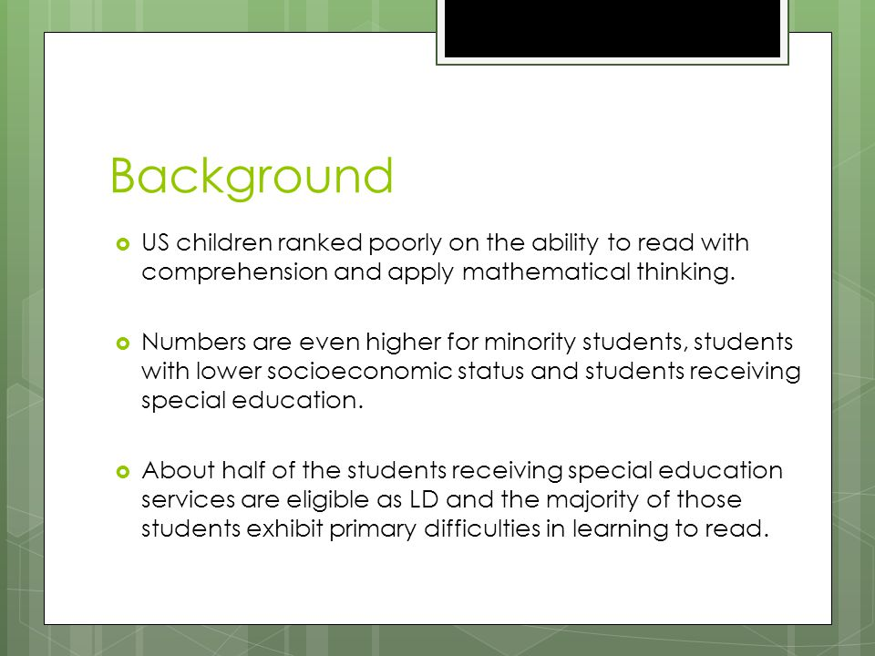 Background Since the inception of Learning Disabilities as an eligibility category in the 1970's, the difficulty of operationalizing the diagnosis of a specific learning disability (SLD) has plagued special education.
