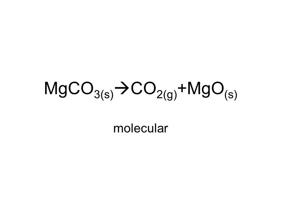 MgCO 3(s)  CO 2(g) +MgO (s) molecular