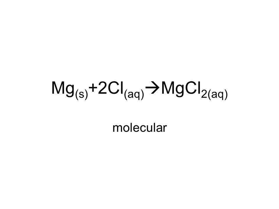 Mg (s) +2Cl (aq)  MgCl 2(aq) molecular