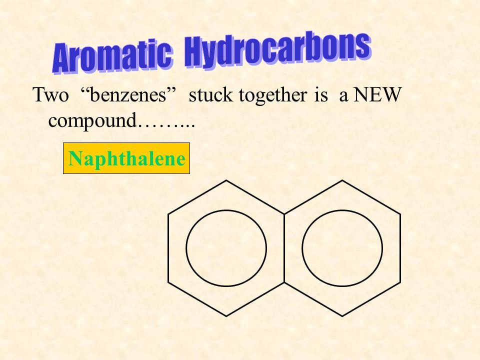 Two benzenes stuck together is a NEW compound……... Naphthalene
