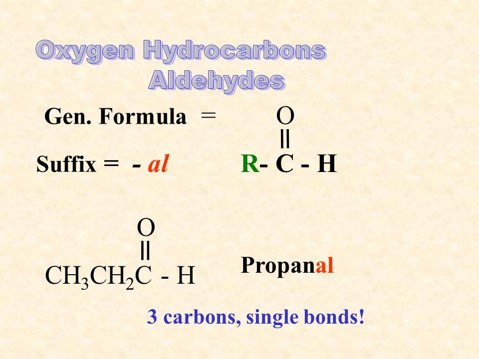 Gen. Formula = O = R- C - H Suffix = - al CH 3 CH 2 C - H O = Propanal 3 carbons, single bonds!