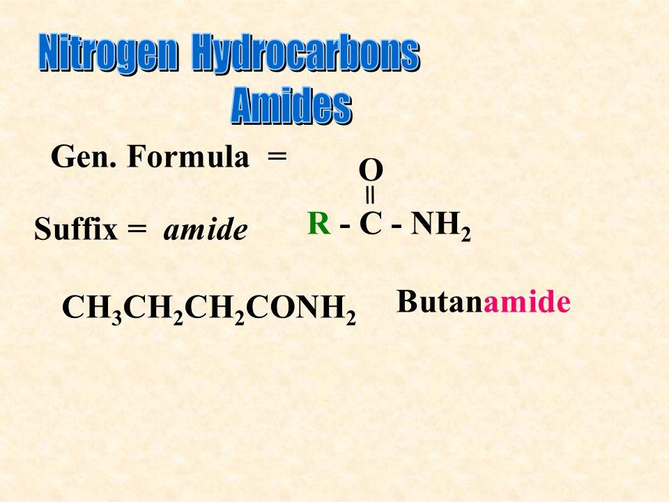 Gen. Formula = R - C - NH 2 O = CH 3 CH 2 CH 2 CONH 2 Butanamide Suffix = amide