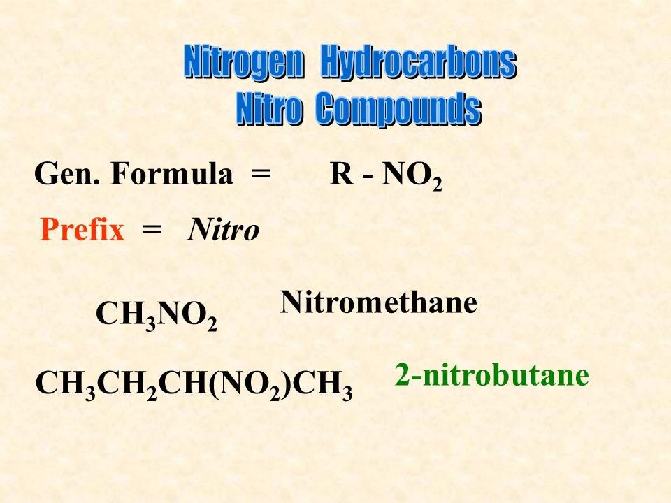 Gen. Formula = R - NO 2 Prefix = Nitro CH 3 NO 2 Nitromethane CH 3 CH 2 CH(NO 2 )CH 3 2-nitrobutane
