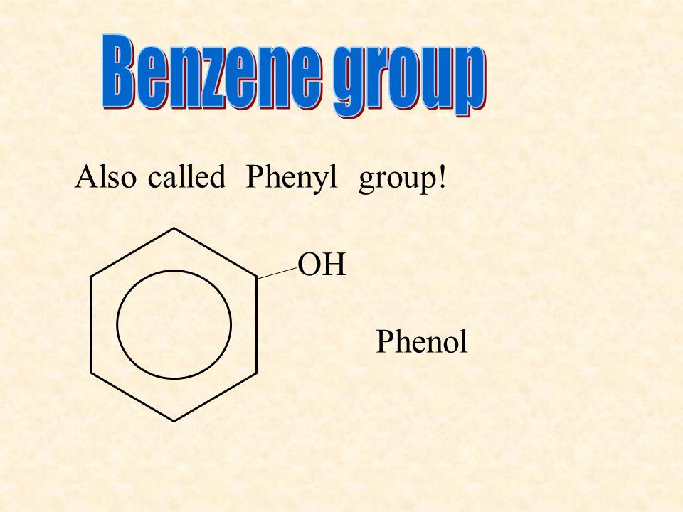 Also called Phenyl group! OH Phenol