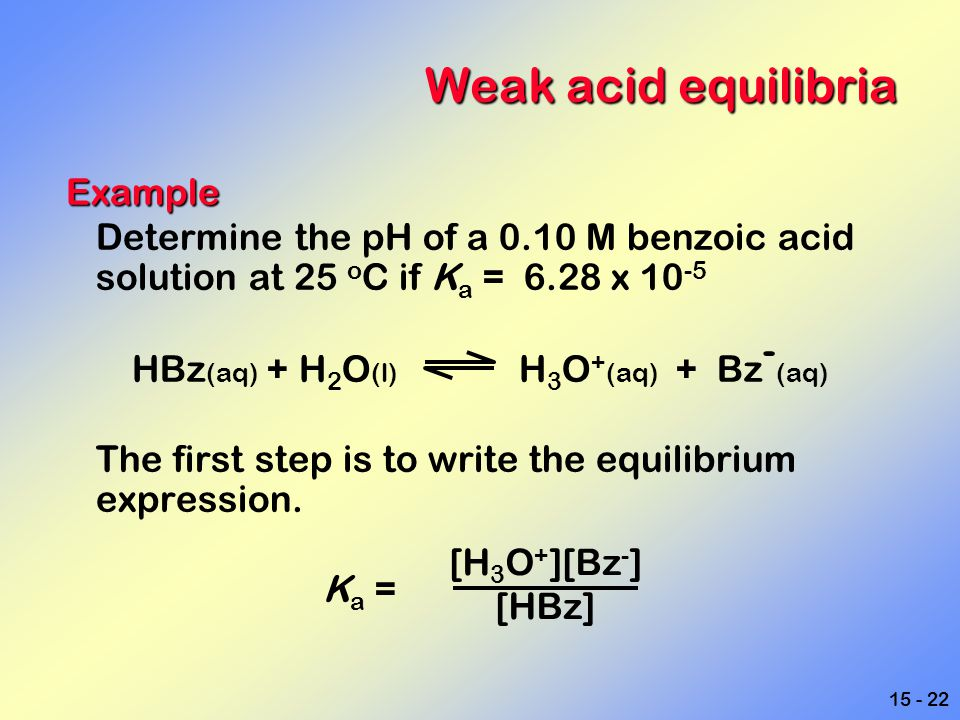 15 - 22 Weak acid equilibria Example Determine the pH of a 0.10 M benzoic acid solution at 25 o C if K a = 6.28 x 10 -5 HBz (aq) + H 2 O (l) H 3 O + (