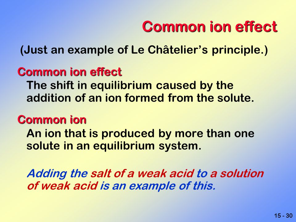 15 - 30 Common ion effect (Just an example of Le Châtelier's principle.) Common ion effect The shift in equilibrium caused by the addition of an ion f
