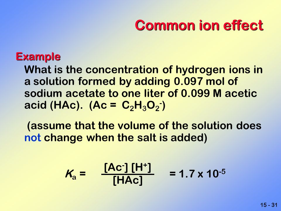 15 - 31 Common ion effect Example What is the concentration of hydrogen ions in a solution formed by adding 0.097 mol of sodium acetate to one liter o