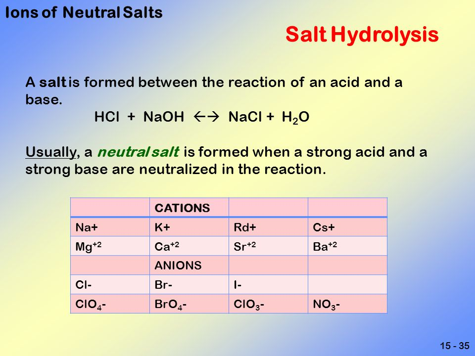 15 - 35 Salt Hydrolysis A salt is formed between the reaction of an acid and a base. HCl + NaOH  NaCl + H 2 O Usually, a neutral salt is formed when