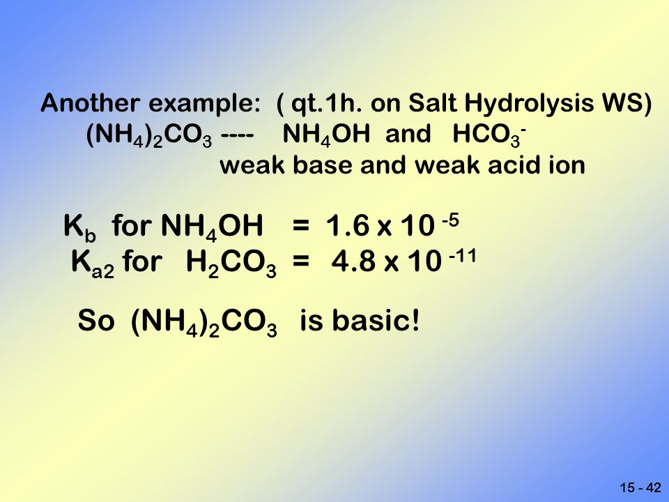 15 - 42 Another example: ( qt.1h. on Salt Hydrolysis WS) (NH 4 ) 2 CO 3 ---- NH 4 OH and HCO 3 - weak base and weak acid ion K b for NH 4 OH = 1.6 x 1