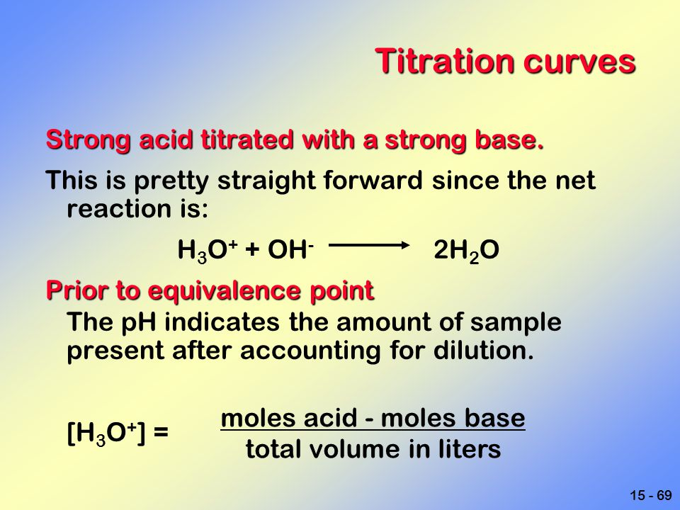 15 - 69 Titration curves Strong acid titrated with a strong base. This is pretty straight forward since the net reaction is: H 3 O + + OH - 2H 2 O Pri