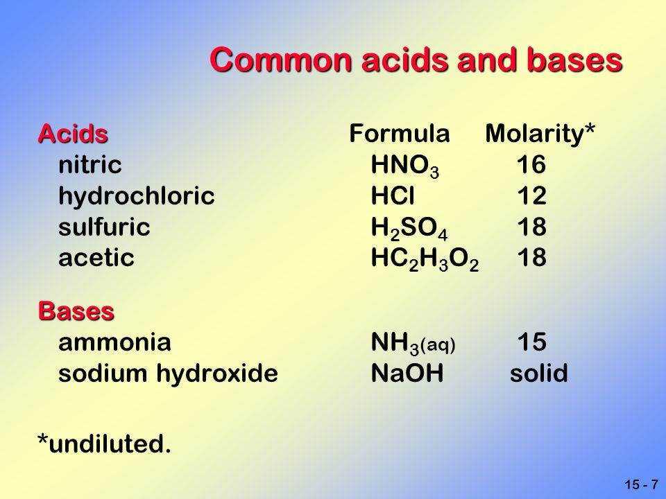 15 - 8 Common Acids and bases AcidicBasic Acidic Basic Citrus fruitsBaking soda Aspirin Detergents Coca Cola Ammonia cleaners VinegarTums and Rolaids Vitamin CSoap