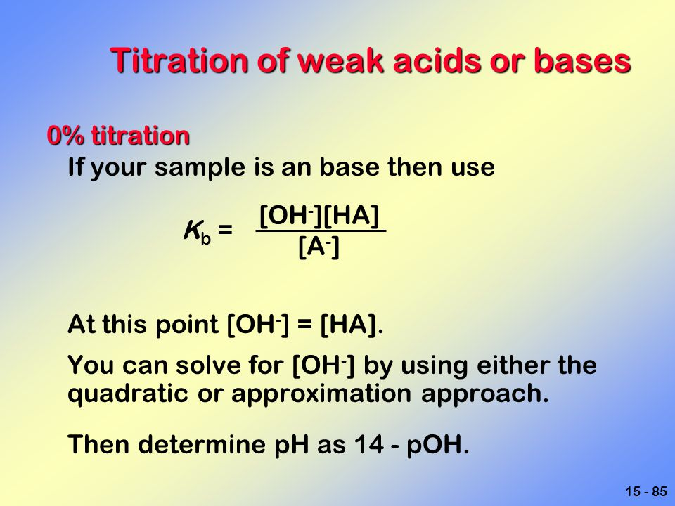 15 - 85 Titration of weak acids or bases 0% titration If your sample is an base then use K b = At this point [OH - ] = [HA]. You can solve for [OH - ]