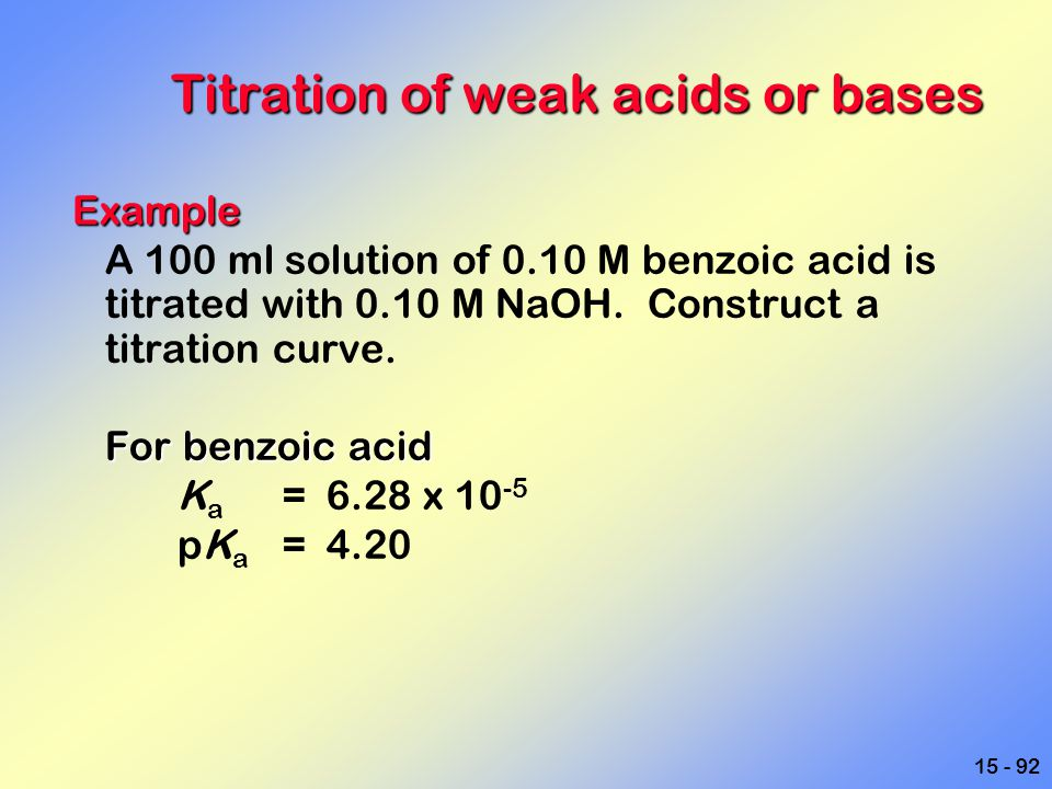 15 - 92 Titration of weak acids or bases Example A 100 ml solution of 0.10 M benzoic acid is titrated with 0.10 M NaOH. Construct a titration curve. F