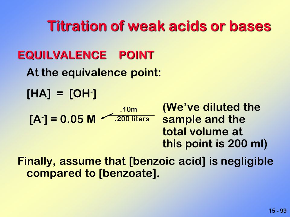 15 - 99 Titration of weak acids or bases EQUILVALENCE POINT At the equivalence point: [HA] = [OH - ] (We've diluted the [A - ] = 0.05 Msample and the