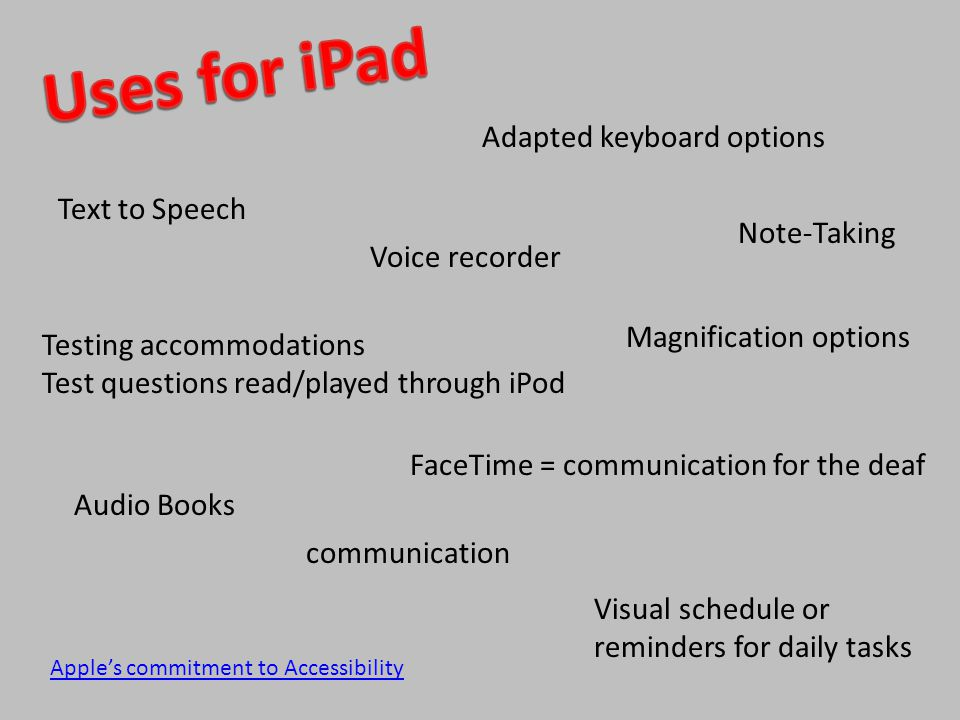 Text to Speech Note-Taking Audio Books Voice recorder Testing accommodations Test questions read/played through iPod Adapted keyboard options Magnification options FaceTime = communication for the deaf Apple's commitment to Accessibility Visual schedule or reminders for daily tasks communication
