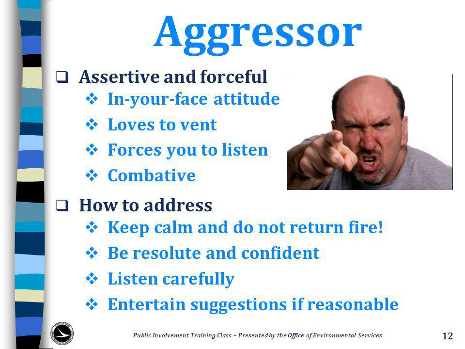 Aggressor  Assertive and forceful  In-your-face attitude  Loves to vent  Forces you to listen  Combative  How to address  Keep calm and do not return fire.