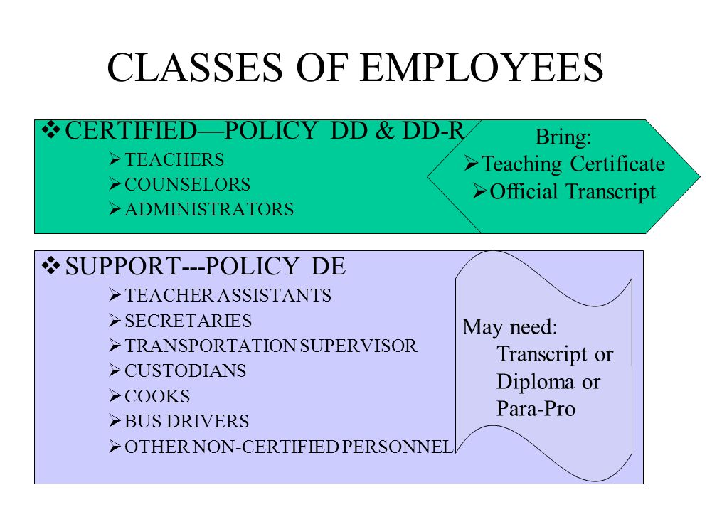 CLASSES OF EMPLOYEES  CERTIFIED—POLICY DD & DD-R  TEACHERS  COUNSELORS  ADMINISTRATORS  SUPPORT---POLICY DE  TEACHER ASSISTANTS  SECRETARIES  TRANSPORTATION SUPERVISOR  CUSTODIANS  COOKS  BUS DRIVERS  OTHER NON-CERTIFIED PERSONNEL Bring:  Teaching Certificate  Official Transcript May need: Transcript or Diploma or Para-Pro