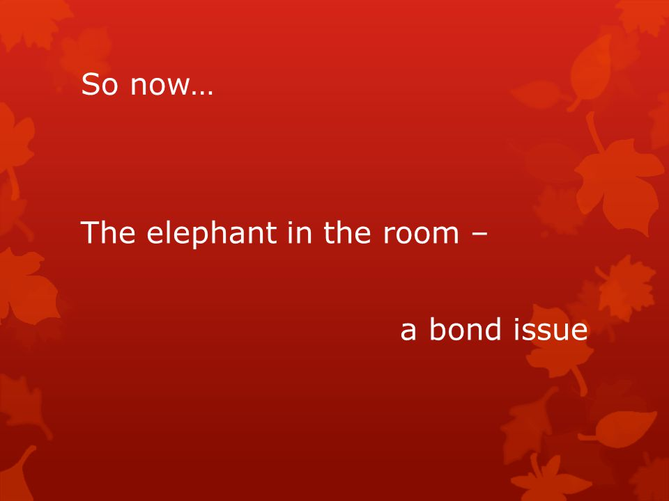 So now… The elephant in the room – a bond issue