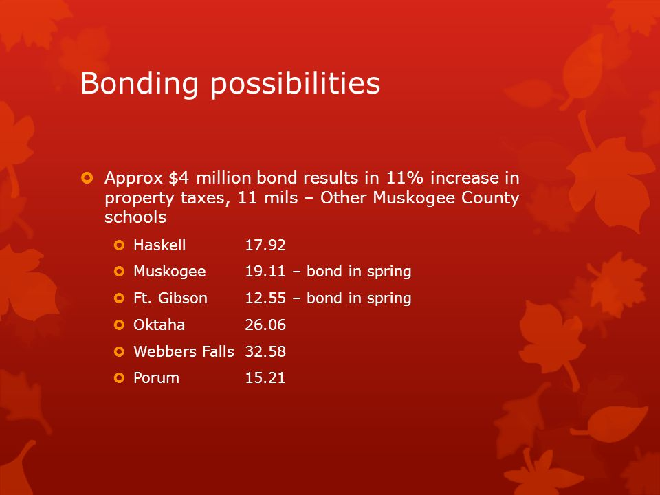 Bonding possibilities  Approx $4 million bond results in 11% increase in property taxes, 11 mils – Other Muskogee County schools  Haskell17.92  Muskogee19.11 – bond in spring  Ft.