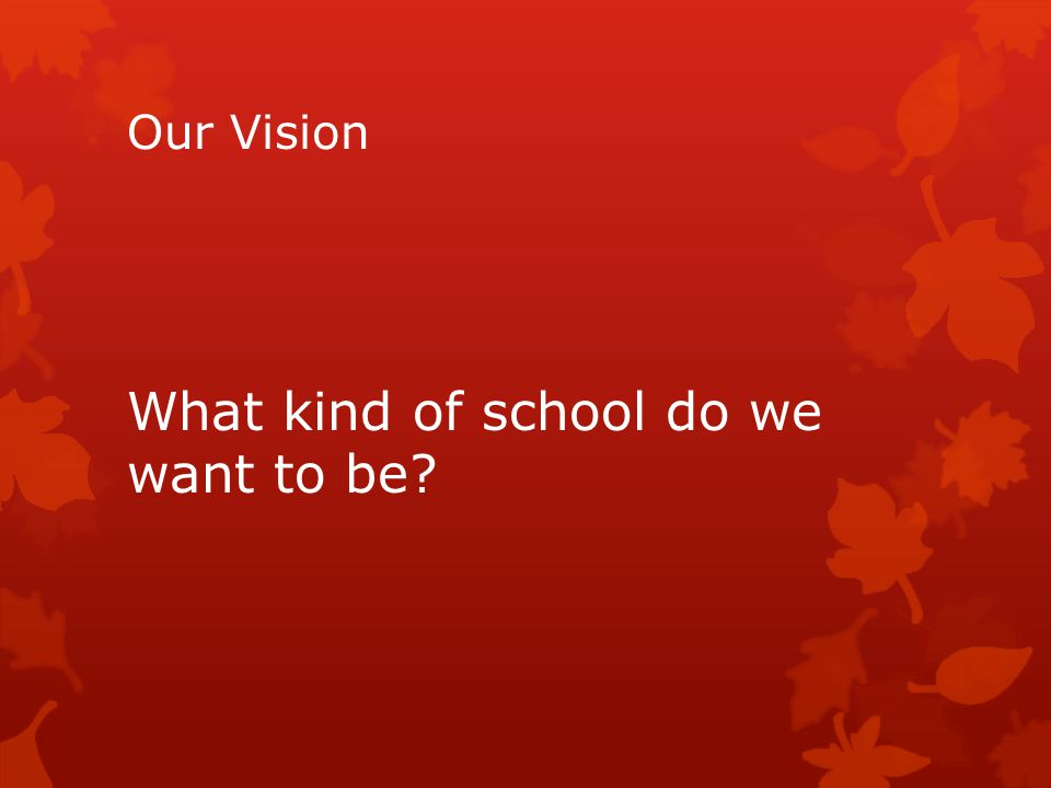 Our Vision What kind of school do we want to be