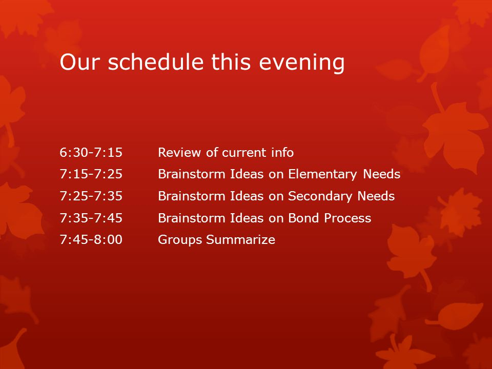 Our schedule this evening 6:30-7:15 Review of current info 7:15-7:25 Brainstorm Ideas on Elementary Needs 7:25-7:35Brainstorm Ideas on Secondary Needs 7:35-7:45 Brainstorm Ideas on Bond Process 7:45-8:00 Groups Summarize