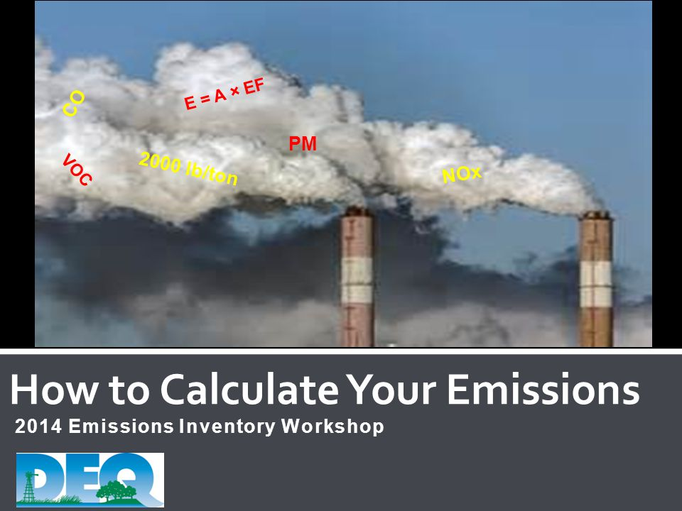 2014 Emissions Inventory Workshop How to Calculate Your Emissions CO VOC E = A × EF PM NOx 2000 lb/ton