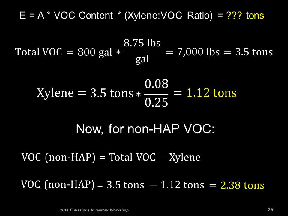 E = A * VOC Content * (Xylene:VOC Ratio) = ??? tons 25 2014 Emissions Inventory Workshop Now, for non-HAP VOC: VOC (non-HAP ) VOC (non-HAP) = Total VO