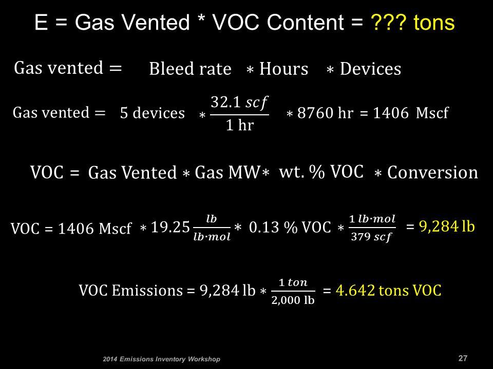 E = Gas Vented * VOC Content = ??? tons 27 2014 Emissions Inventory Workshop VOC = 1406 MscfVOC = = 1406 Mscf Gas MW = 9,284 lb
