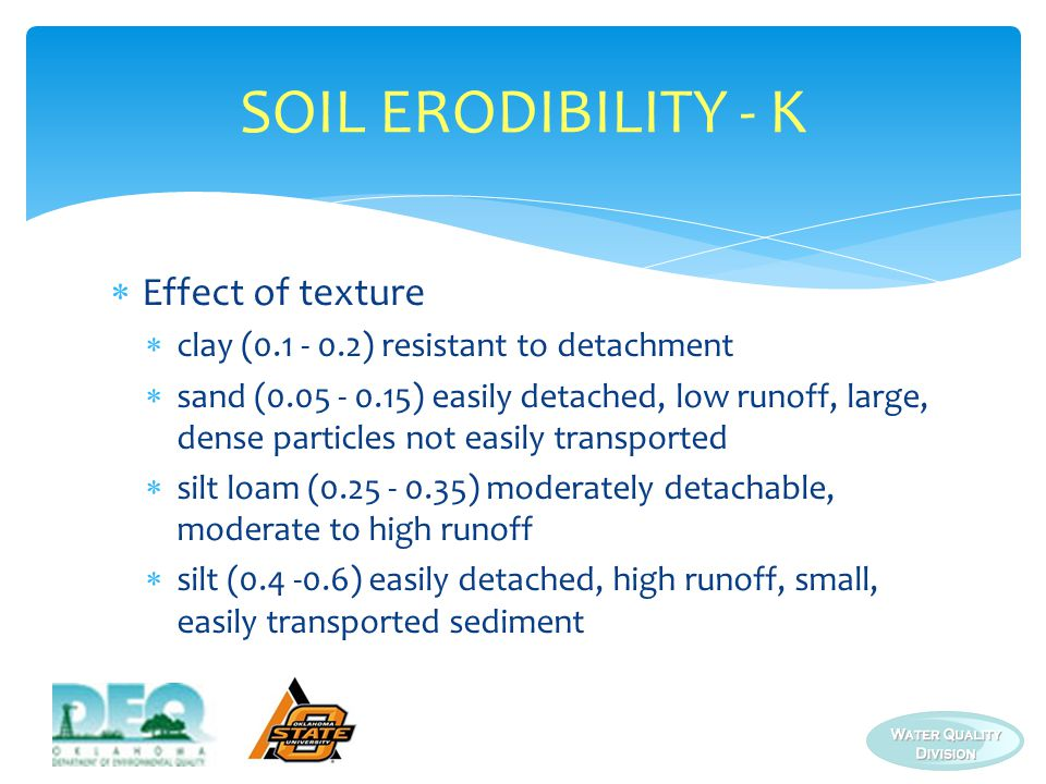 SOIL ERODIBILITY - K  Effect of texture  clay (0.1 - 0.2) resistant to detachment  sand (0.05 - 0.15) easily detached, low runoff, large, dense particles not easily transported  silt loam (0.25 - 0.35) moderately detachable, moderate to high runoff  silt (0.4 -0.6) easily detached, high runoff, small, easily transported sediment