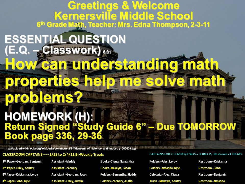 Greetings & Welcome Kernersville Middle School 6 th Grade Math, Teacher: Mrs. Edna Thompson, 2-3-11 ESSENTIAL QUESTION (E.Q. – Classwork) 5.01 How can