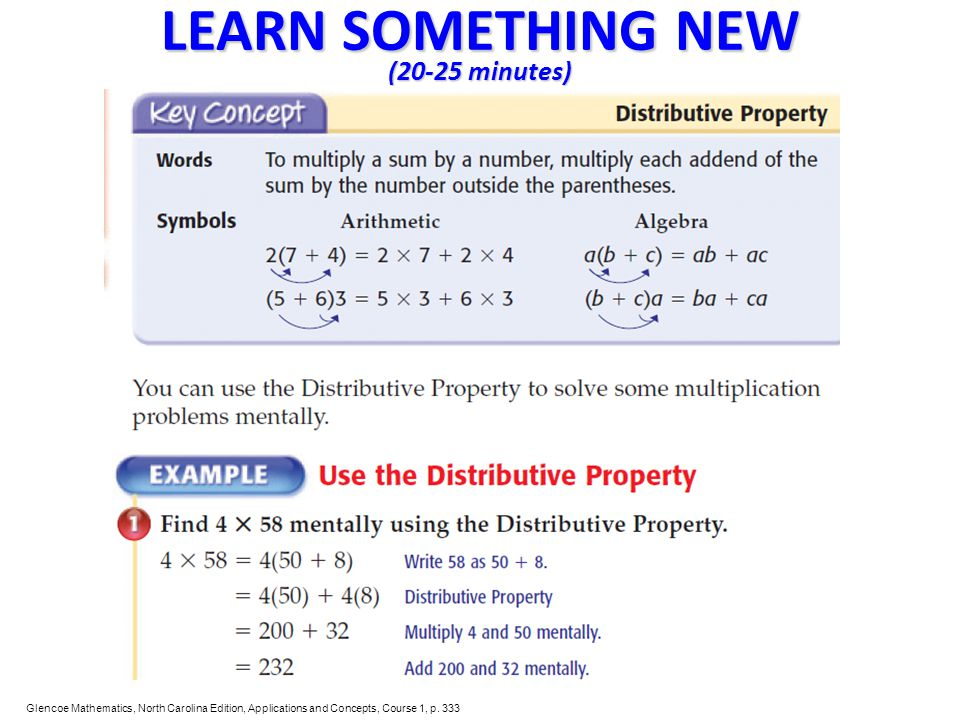 LEARN SOMETHING NEW (20-25 minutes) Glencoe Mathematics, North Carolina Edition, Applications and Concepts, Course 1, p. 333