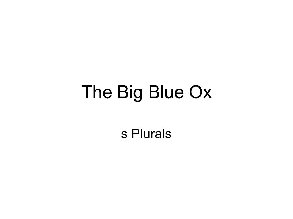 The Big Blue Ox s Plurals