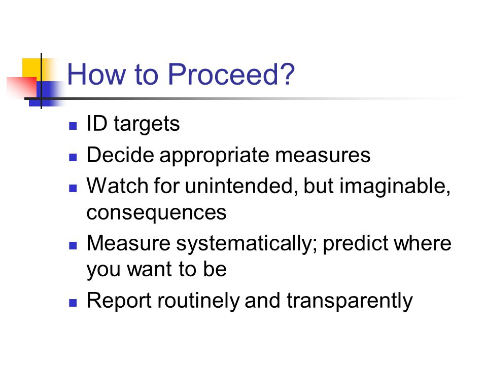 How to Proceed? ID targets Decide appropriate measures Watch for unintended, but imaginable, consequences Measure systematically; predict where you wa