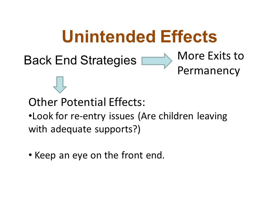 Unintended Effects Back End Strategies Other Potential Effects: Look for re-entry issues (Are children leaving with adequate supports ) Keep an eye on the front end.