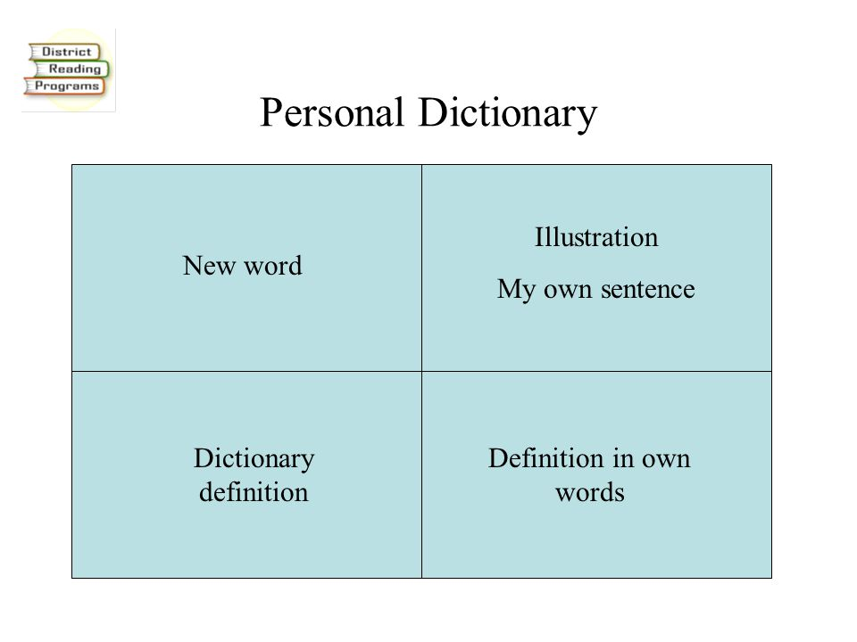Personal Dictionary New word Illustration My own sentence Dictionary definition Definition in own words