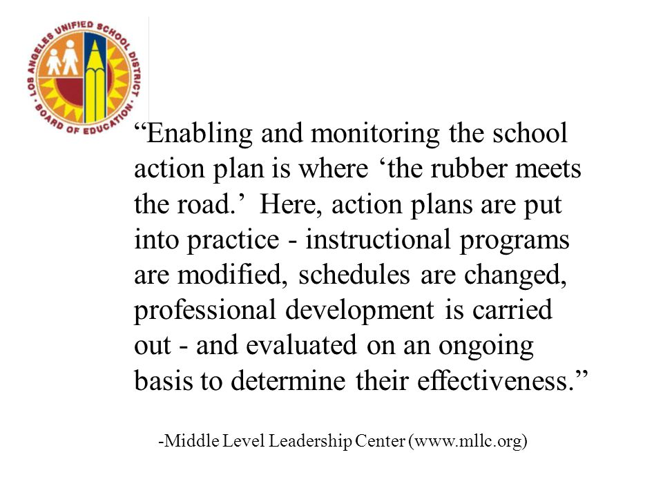 Enabling and monitoring the school action plan is where 'the rubber meets the road.' Here, action plans are put into practice - instructional programs are modified, schedules are changed, professional development is carried out - and evaluated on an ongoing basis to determine their effectiveness. -Middle Level Leadership Center (www.mllc.org)