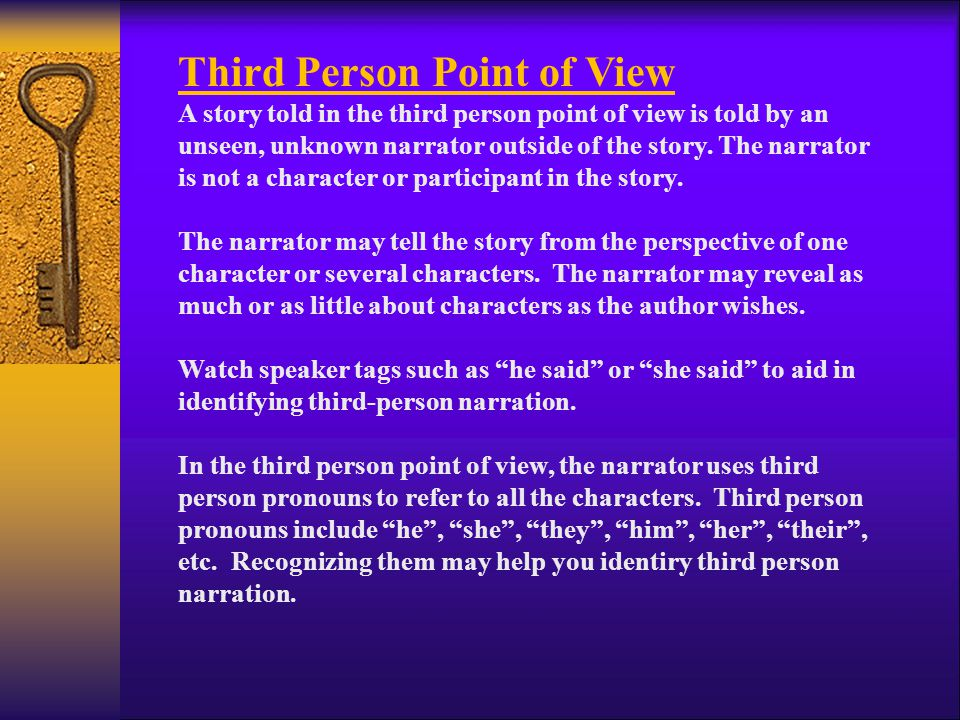 First Person Point of View The first person refers to the pronoun I .