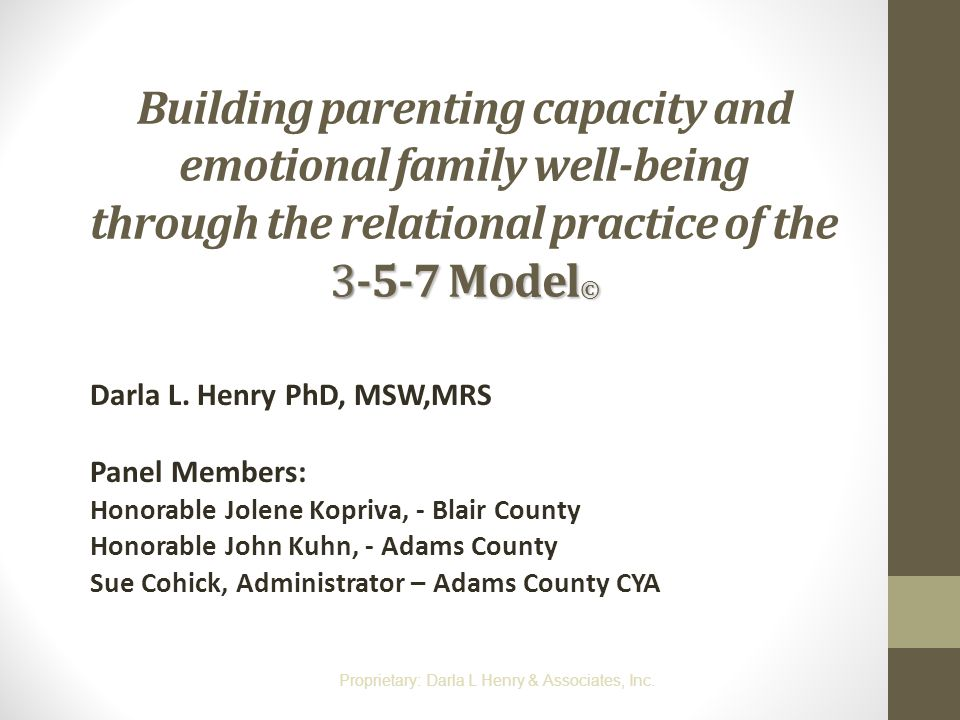 3-5-7 Model © Building parenting capacity and emotional family well-being through the relational practice of the 3-5-7 Model © Darla L. Henry PhD, MSW