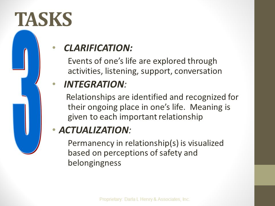 TASKS CLARIFICATION: Events of one's life are explored through activities, listening, support, conversation INTEGRATION: Relationships are identified