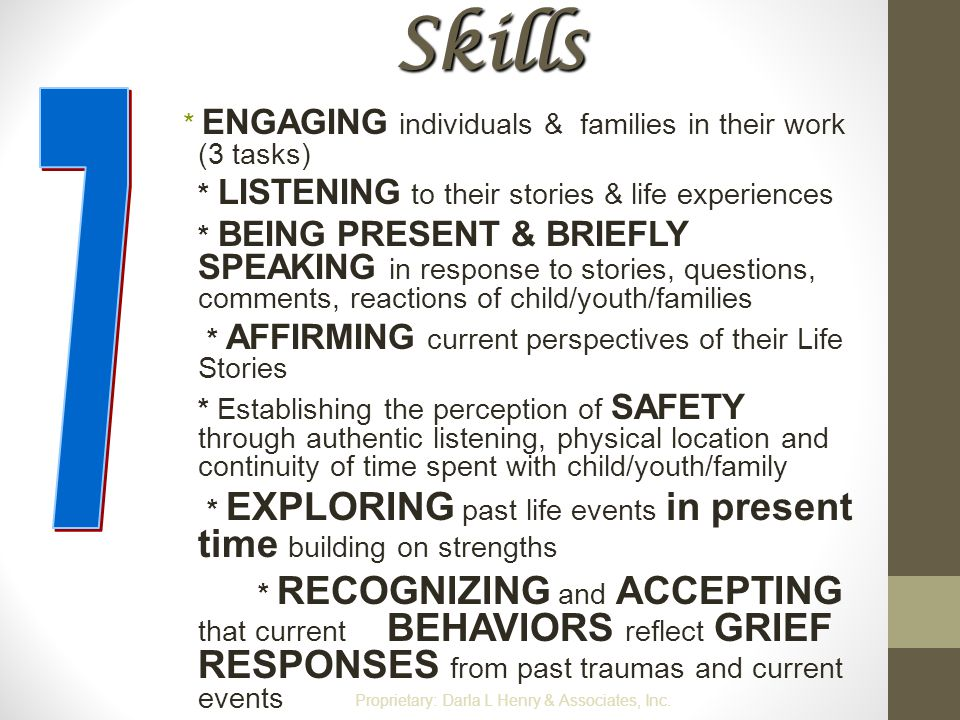 Skills * ENGAGING individuals & families in their work (3 tasks) * LISTENING to their stories & life experiences * BEING PRESENT & BRIEFLY SPEAKING in