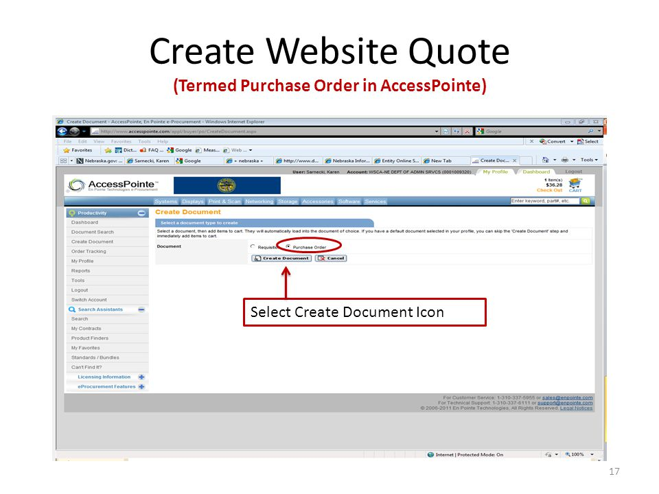 Create Website Quote (Termed Purchase Order in AccessPointe) Select Create Document Icon 17