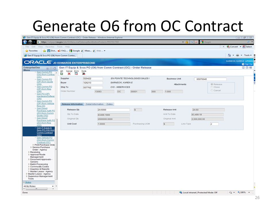 Generate O6 from OC Contract 26