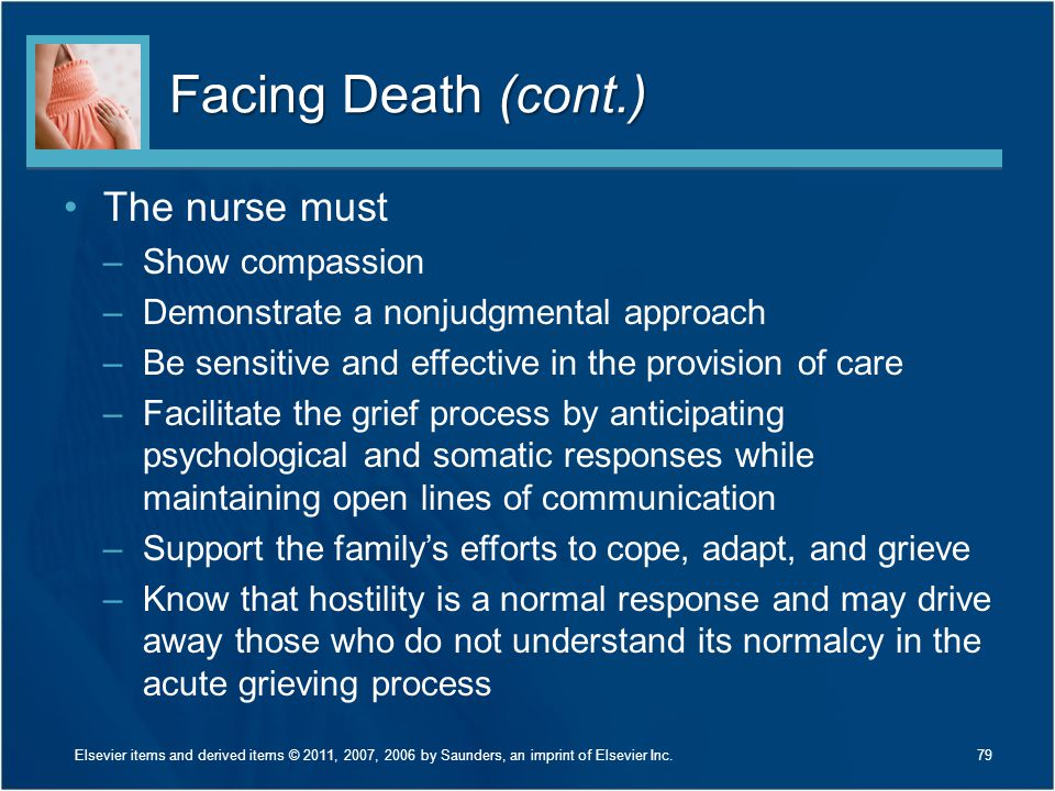 Facing Death (cont.) The nurse must –Show compassion –Demonstrate a nonjudgmental approach –Be sensitive and effective in the provision of care –Facil