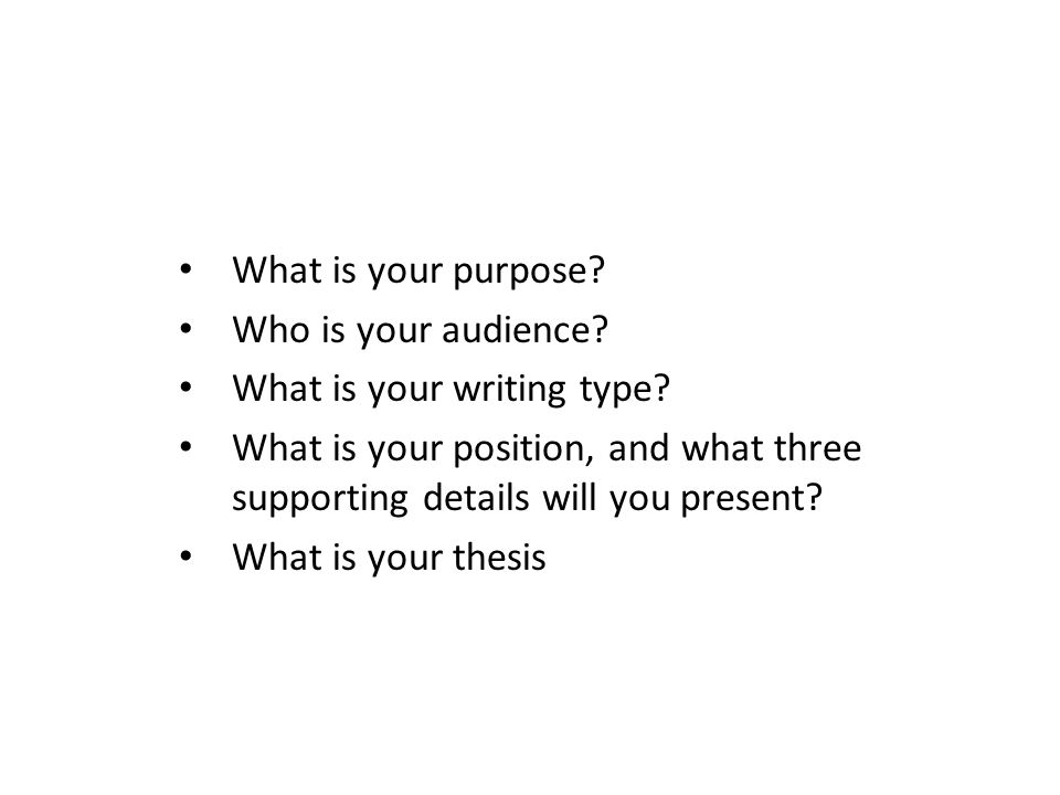 What is your purpose? Who is your audience? What is your writing type? What is your position, and what three supporting details will you present? What