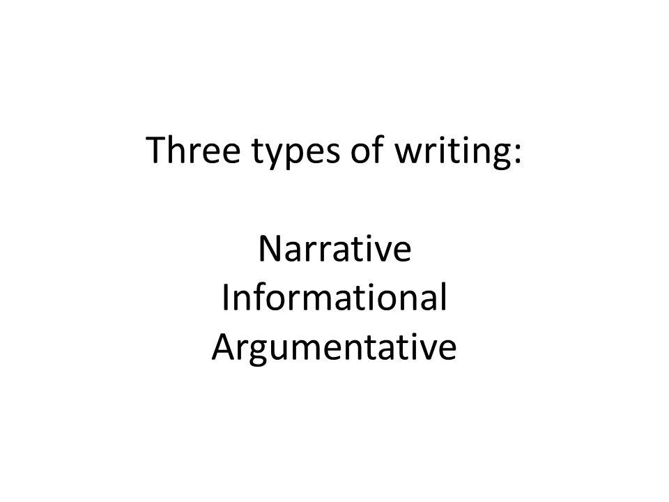 Three types of writing: Narrative Informational Argumentative
