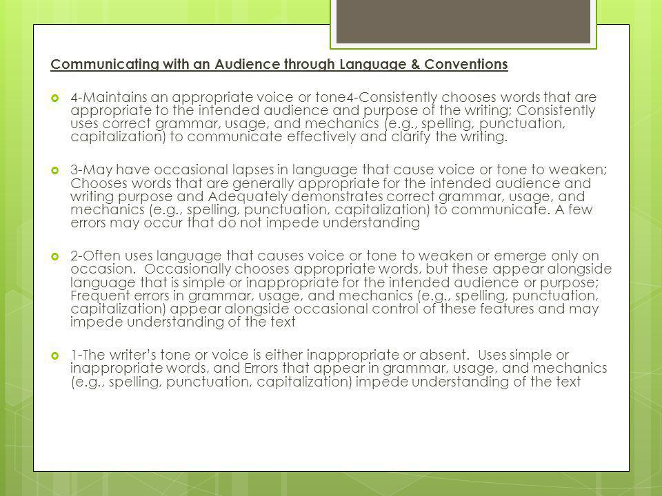 Communicating with an Audience through Language & Conventions  4-Maintains an appropriate voice or tone4-Consistently chooses words that are appropriate to the intended audience and purpose of the writing; Consistently uses correct grammar, usage, and mechanics (e.g., spelling, punctuation, capitalization) to communicate effectively and clarify the writing.