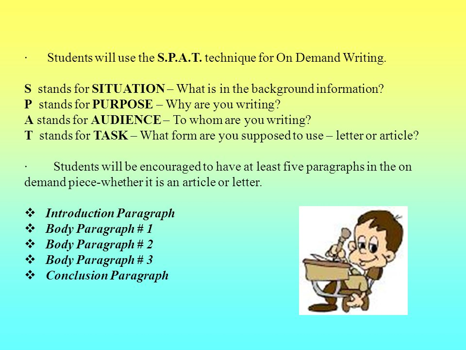 · Students will use the S.P.A.T. technique for On Demand Writing.