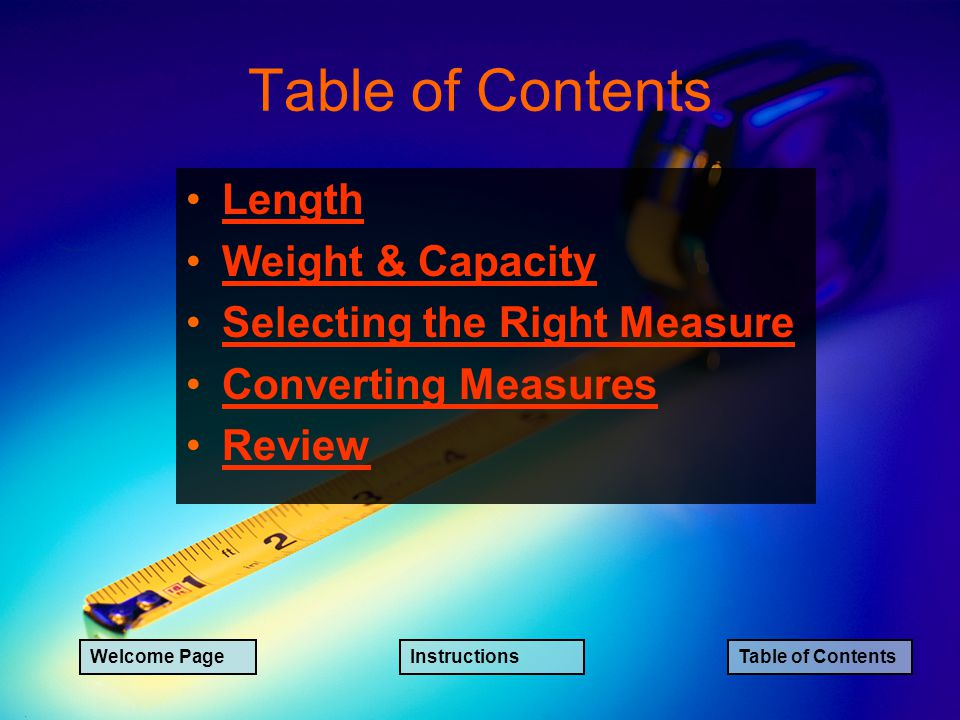 Table of Contents Length Weight & Capacity Selecting the Right Measure Converting Measures Review Welcome PageInstructionsTable of Contents