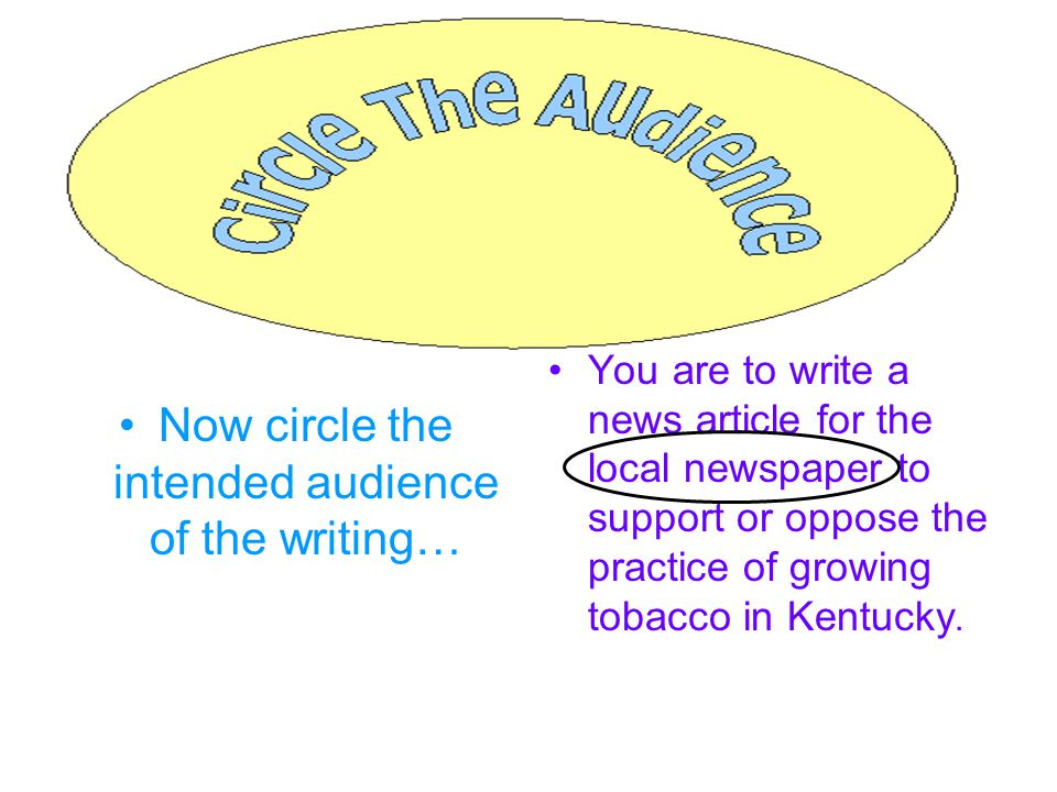 Now circle the intended audience of the writing… You are to write a news article for the local newspaper to support or oppose the practice of growing tobacco in Kentucky.