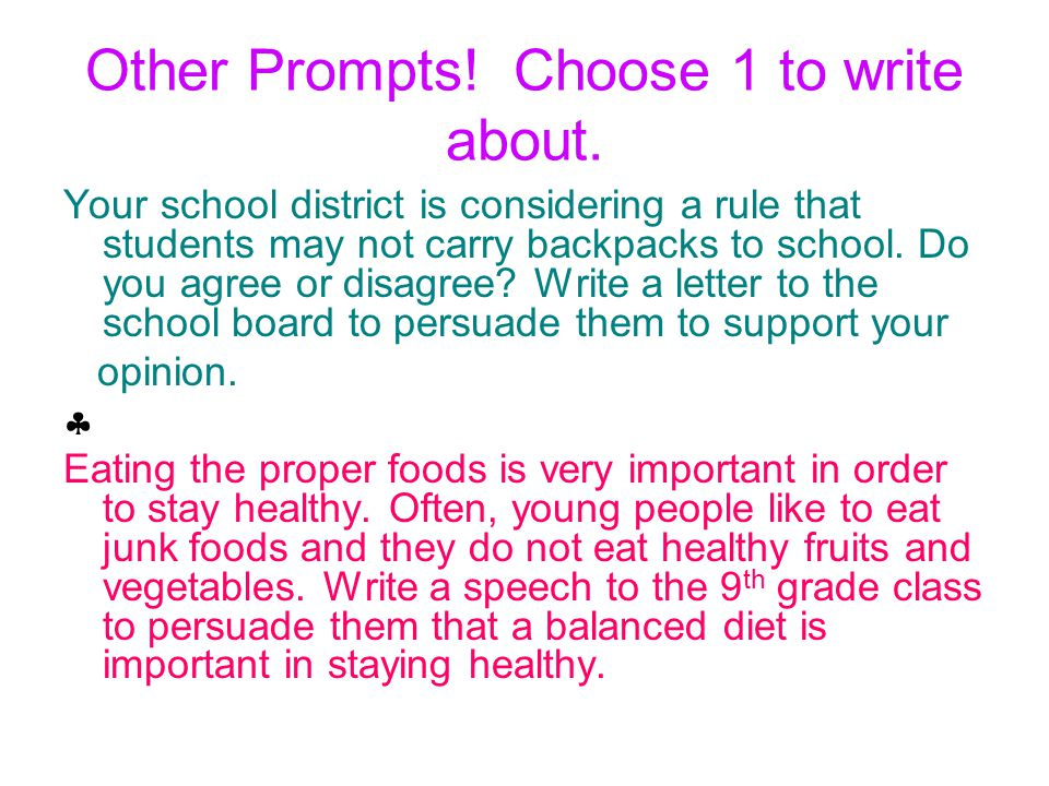 Other Prompts. Choose 1 to write about.